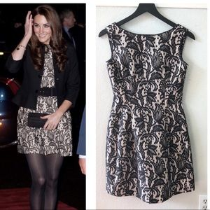 Zara lace tulip dress black seen on Kate Middleton